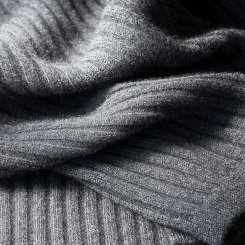 Angora Wide Rib Blanket in Charcoal colour