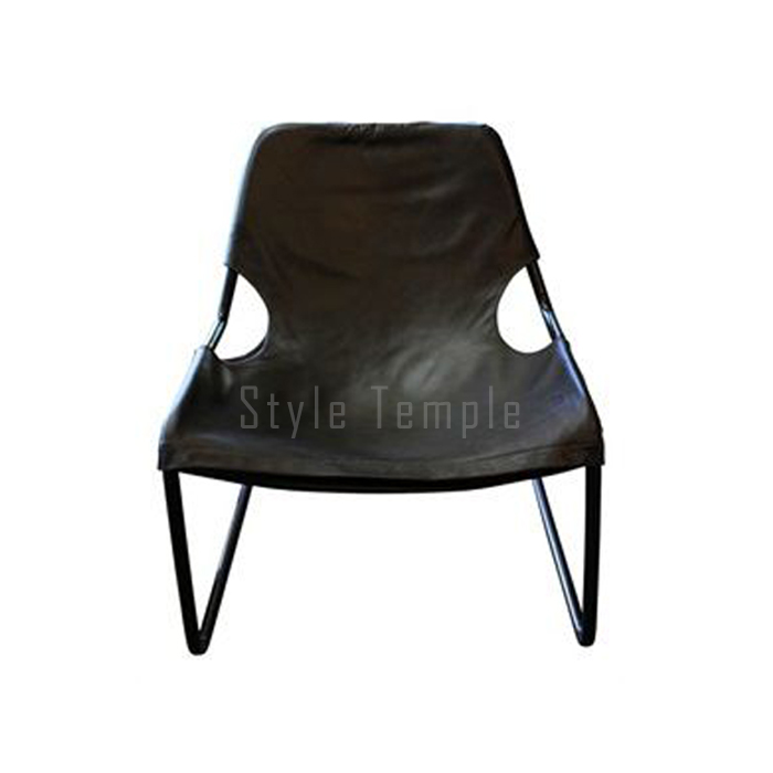 Black Leather Sling Armchair Style Temple