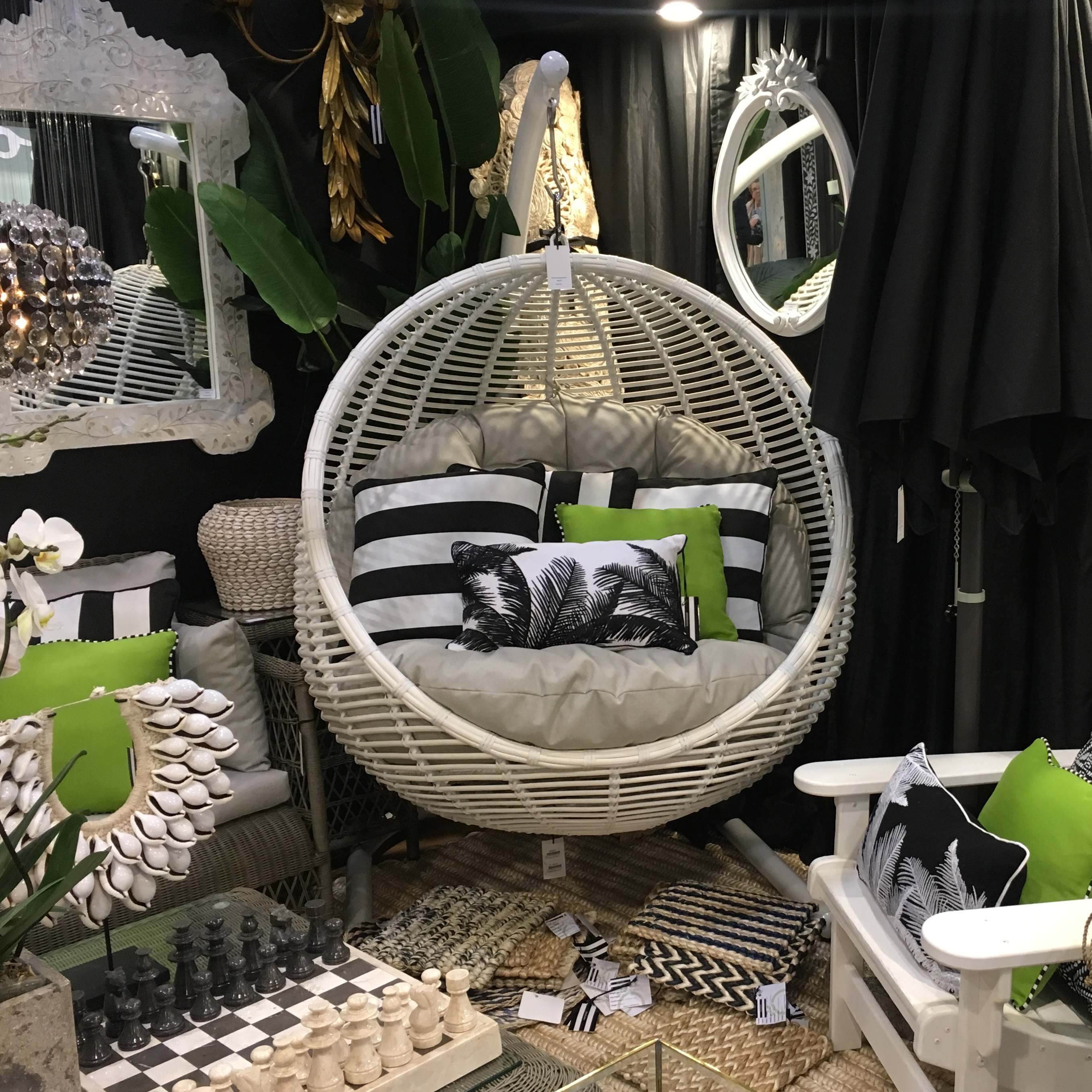 Sorrento Hanging Chair Round with Stand Black / White ...